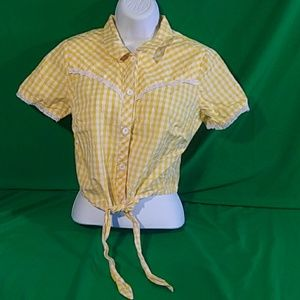 Hellbunny small yellow white plaid lace crop top